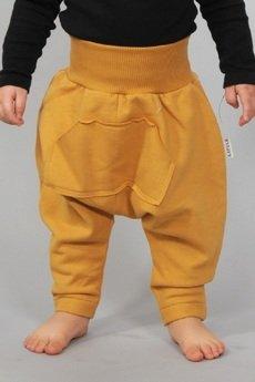 Gapula - Spodnie MUSZTARDOWE z kieszenią kangurką