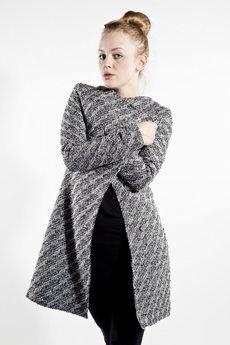MADE LINE - Elegancki, szary, wełniany płaszcz.