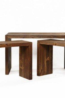 Regalia Polska Manufaktura - Komplet drewnianych konsoli w konfiguracji 2 + 1