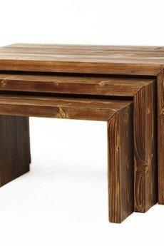 Regalia Polska Manufaktura - Komplet 3 konsoli ze starego drewna