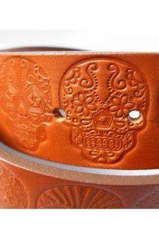 RUSHdnm - BELT MEXICAN SKULL / LIGHT BROWN 40MM