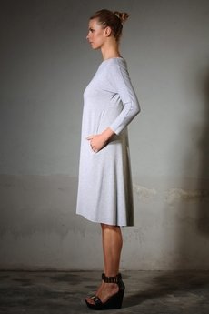 YES TO DRESS by Bożena Karska - ANIKA jersey grey melange dress