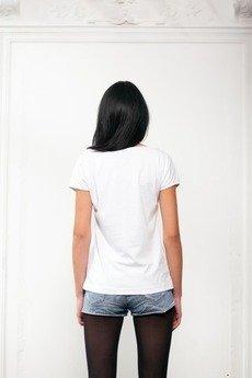 Drunklegends - Biały T-shirt z nadrukiem kota
