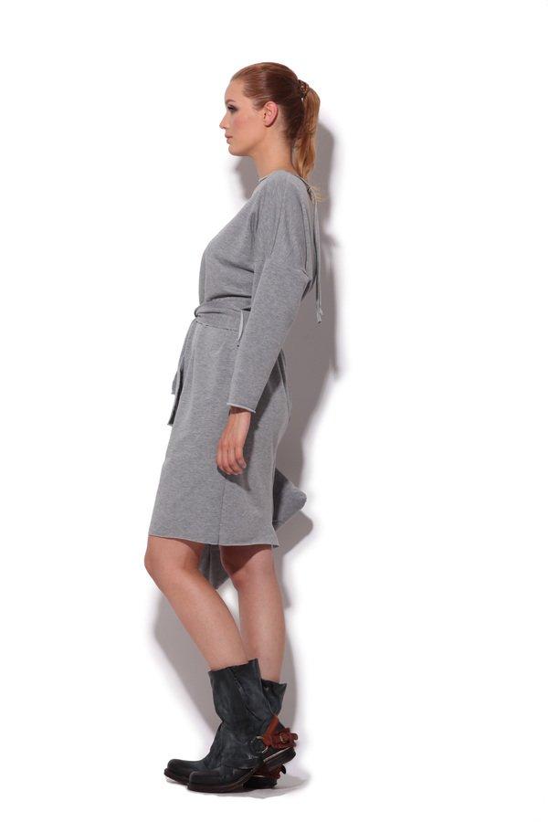 5966ba9f81 Sukienka Z Dresowej Dzianiny Z Suwakiem Z Tyłu - Szary
