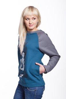 Slogan ubrania ekologiczne, etyczne i wegańskie - DEVI by COXIE bluza damska sea