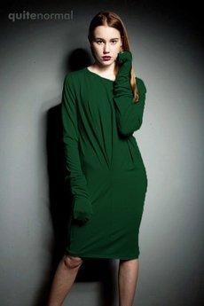 Quitenormal - Pleaser- Dzianinowa sukienka zielona szmaragd
