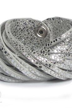 - Bransoleta skórzana srebrna w ciapki TWISTed
