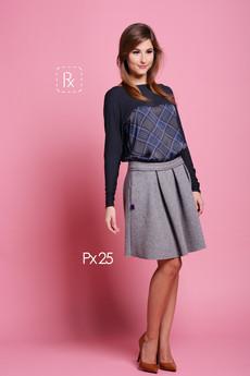 Paradox - Px 25. Szara, wełniana spódnica z fałdami