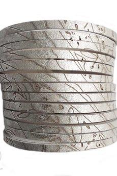 Mikashka - Bransoleta skórzana srebrna z wzorem