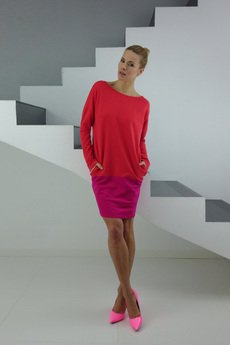 YES TO DRESS by Bożena Karska - DRESICA coral-amarant dress