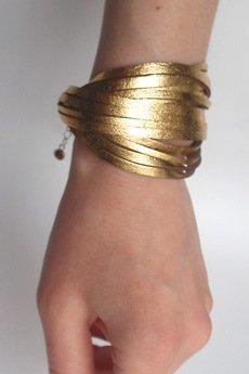 - Bransoletka skórzana złota