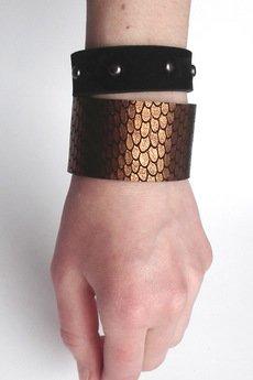 Mikashka - Komplet bransolet skórzanych miedź łuski