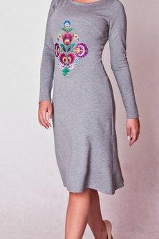 02 folk szara sukienka