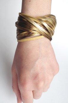 Mikashka - Bransoletka skórzana złoto TWISTed