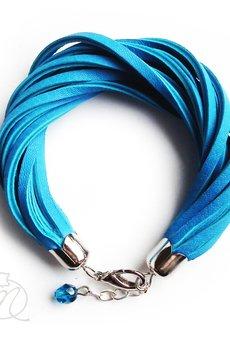 Mikashka - Bransoletka skórzana lazurowy błękit