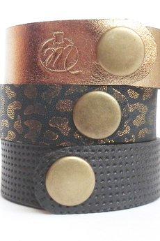 Mikashka - Komplet trzech bransolet złoto/grafit