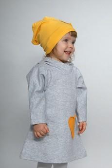 Gapula - Sukienka SZARA z kapturkiem