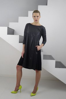 YES TO DRESS by Bożena Karska - ANIKA jersey dress with leather imitation front