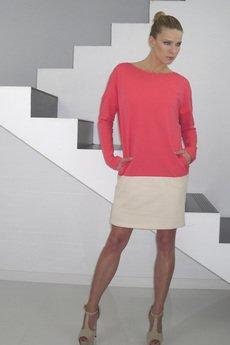 YES TO DRESS by Bożena Karska - DRESICA melon/beige jersey dress