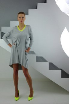 - LIMA grey melange jersey dress