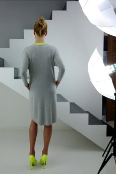 YES TO DRESS by Bożena Karska - LIMA grey melange jersey dress