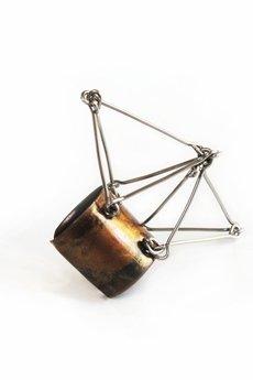 - Geometryczny pierścionek z miedzi i stali Futuristika Cu