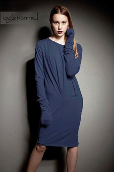 Quitenormal - Pleasure BLUE DENIM Sukienka dzianina