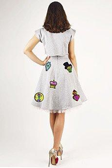 Missspark grey skirt and crop top back m