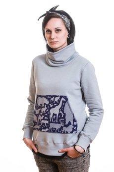 Slogan ubrania ekologiczne, etyczne i wegańskie - BRONX bluza damska grey