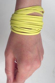 Mikashka - Skórzana bransoletka żółta kanarkowa