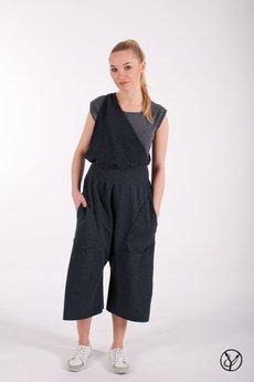 - Spodnie na szelce szare damskie