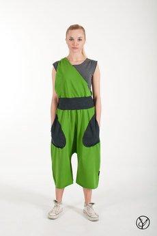 Hultaj Polski - Spodnie na szelce zielone damskie