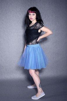 w kropki - TIULOVE! Niebieska tiulowa spódnica!
