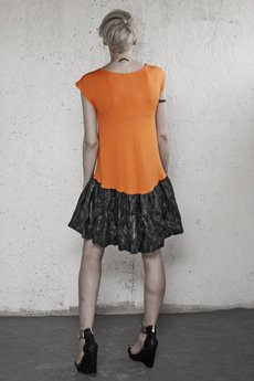 YES TO DRESS by Bożena Karska - LOLA orange jersey with black origami