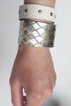 Mikashka - Komplet bransolet skórzanych srebro łuski