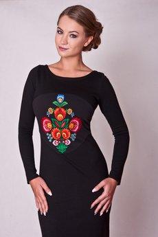 Justyna Ołtarzewska - City Folk 01- sukienka czarna z  haftem folk