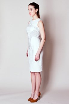 Justyna Ołtarzewska - JAS-03 Kaszmirowa sukienka ze stębnowaną jaskółką