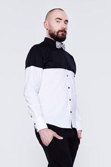 BLUE EYE POP - Czarno-biała koszula męska MBEP_K32