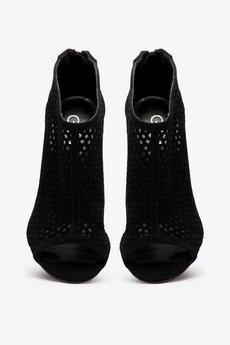 Gloss Shoes - Ażurowe botki na szpilce