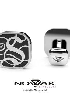 "Novvak Jewellery - Ekskluzywna spinka do mankietu - inicjał ""S"""