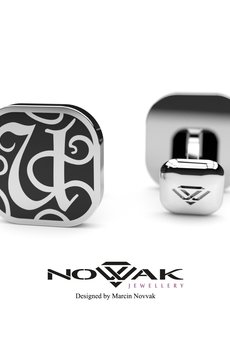 "Novvak Jewellery - Ekskluzywna spinka do mankietu - inicjał ""U"""