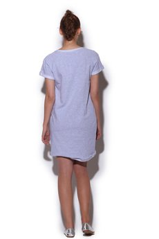 - strukturalna sukienka szary MELANŻ