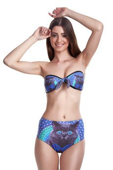 - Crazy cat high-waisted bikini bottom