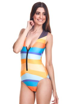Mr. Gugu & Miss Go - Black abstract zip-up swimsuit
