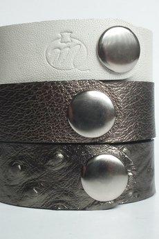 Mikashka - Komplet trzech bransoletek skórzanych struś oxy