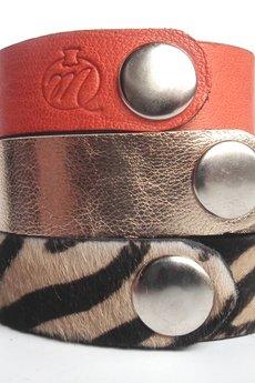 - Komplet trzech bransoletek skórzanych zebra oranż