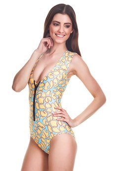 Mr. Gugu & Miss Go - Yellow giraffe zip-up swimsuit