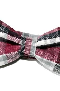 bowstyle - Mucha gotowa bowstyle Bordowo-szara krata