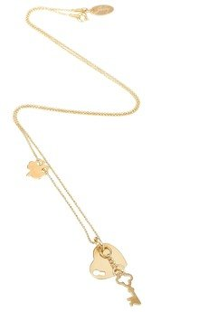 Jelly - Złoty lub srebrny naszyjnik z sercem i kluczykiem oraz koniczynką