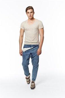 MADOX design - spodnie madoxy jeansowe z podszewką w koniki